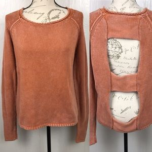Gilded Intent Orange Sweater Cutout Open Back L